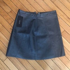Faux leather metallic blue Zara skirt